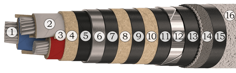 Конструкция силового кабеля АСБ 3х120