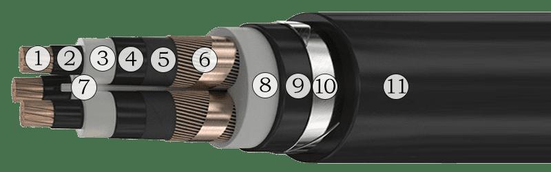 Конструкция силового кабеля ПвБВ 3х120